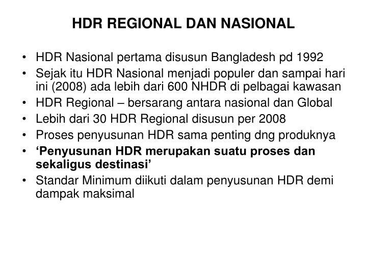 HDR REGIONAL DAN NASIONAL