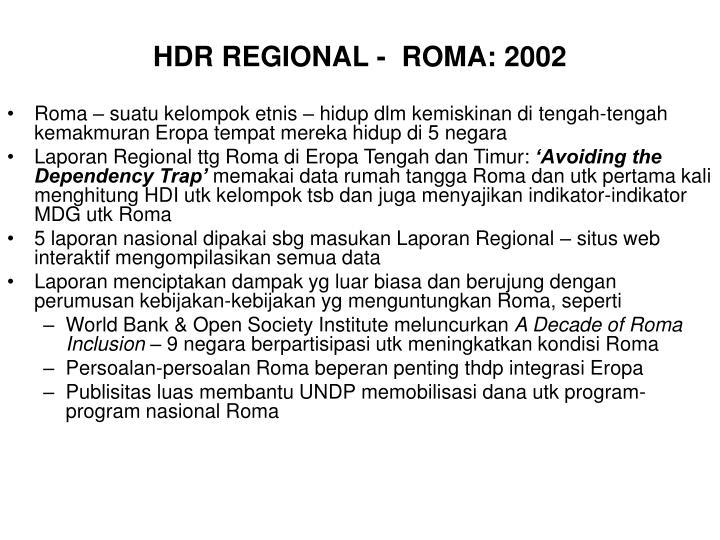 HDR REGIONAL -  ROMA: 2002