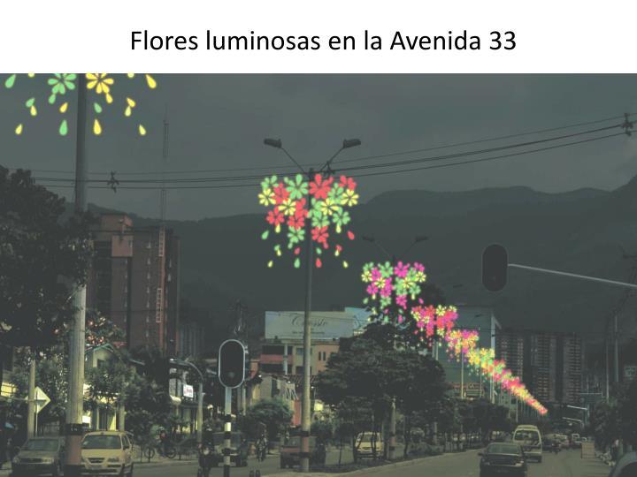 Flores luminosas en la Avenida 33