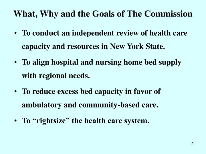 What why and the goals of the commission l.jpg