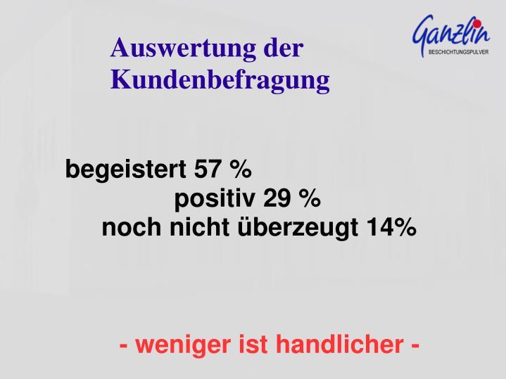begeistert 57 %