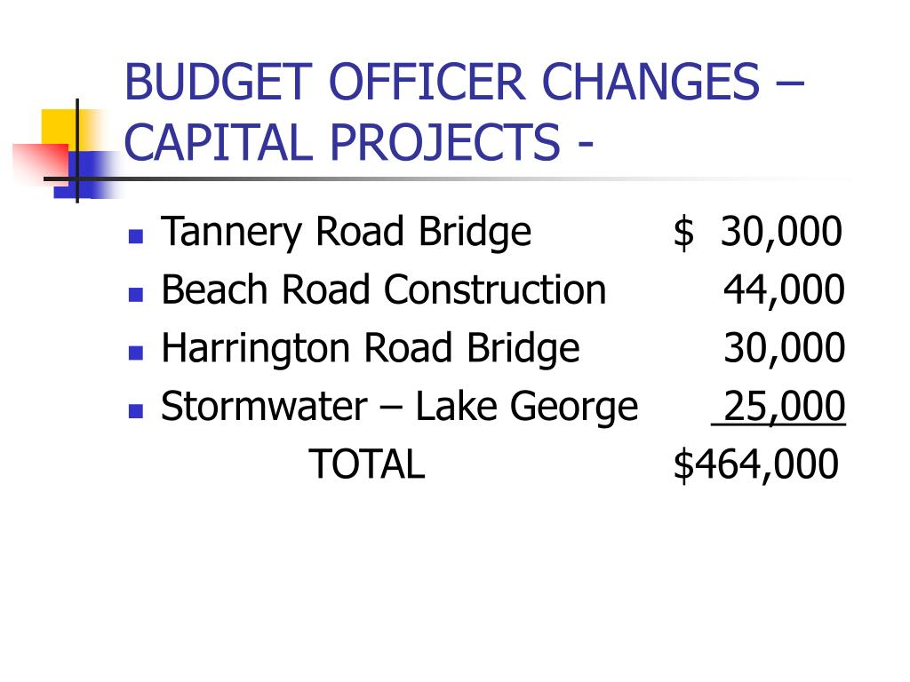 BUDGET OFFICER CHANGES – CAPITAL PROJECTS -