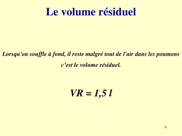 Le volume résiduel