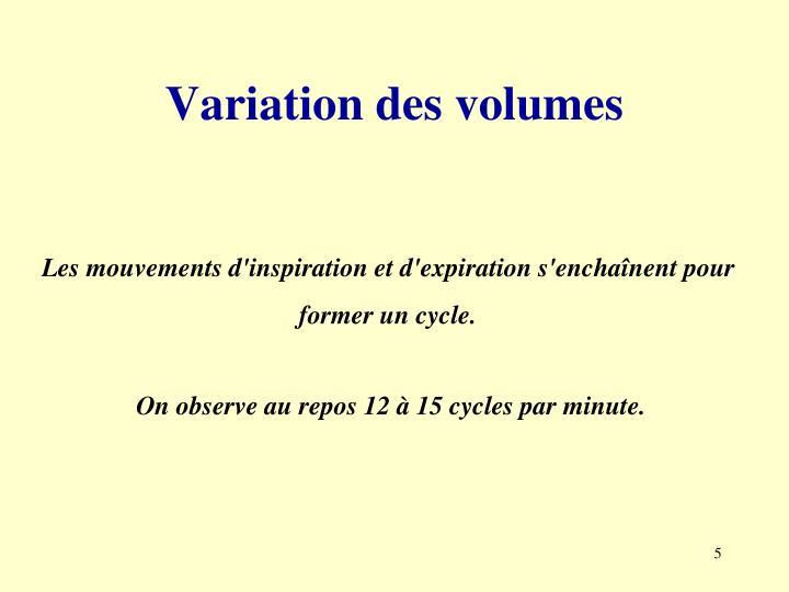 Variation des volumes