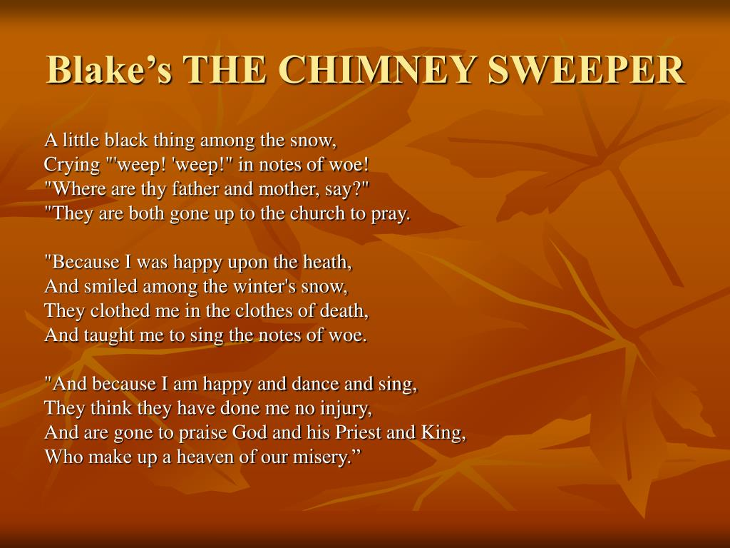 Blake's THE CHIMNEY SWEEPER
