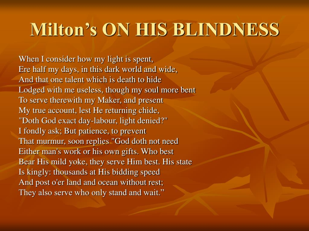 Milton's ON HIS BLINDNESS