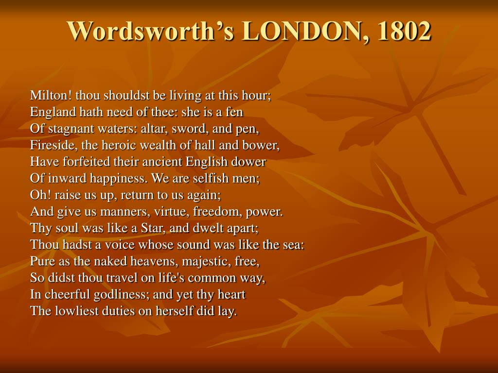 Wordsworth's LONDON, 1802