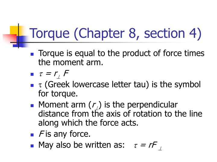 Torque (Chapter 8, section 4)