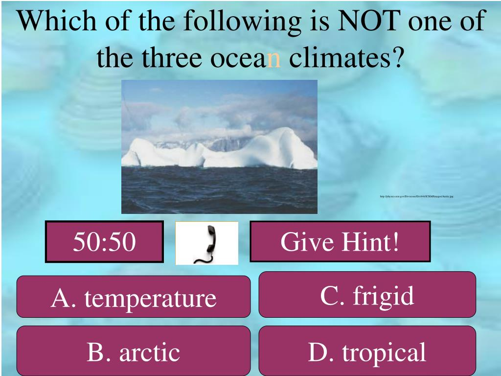 Which of the following is NOT one of the three ocea