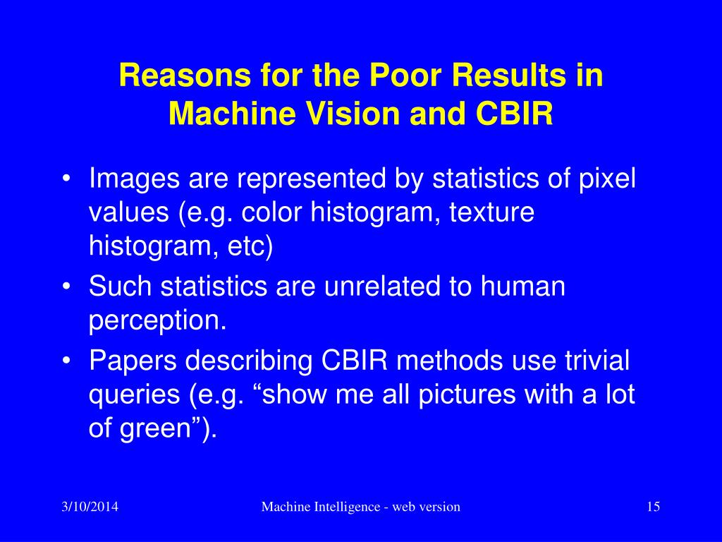 Reasons for the Poor Results in Machine Vision and CBIR