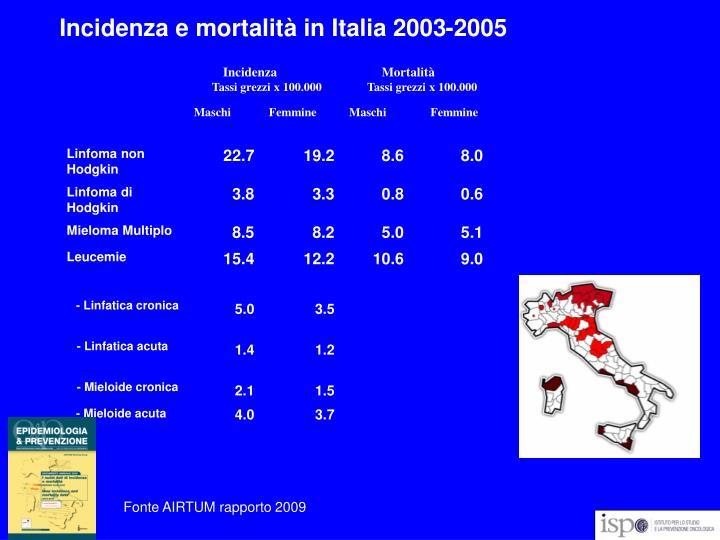 Incidenza e mortalità in Italia 2003-2005