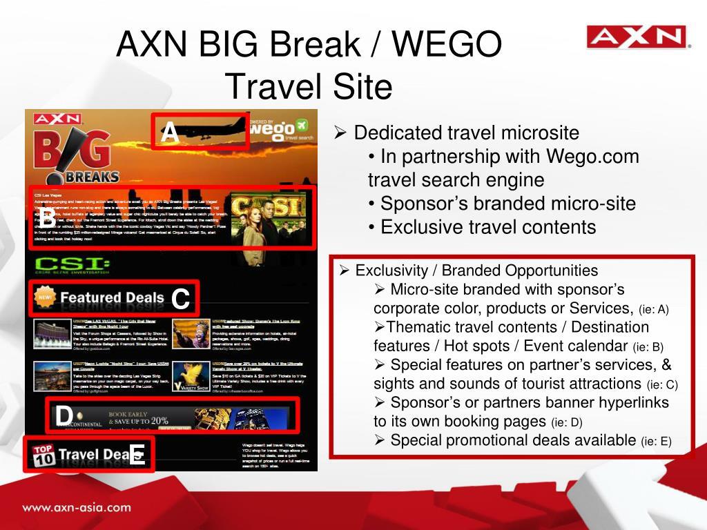 AXN BIG Break / WEGO Travel Site