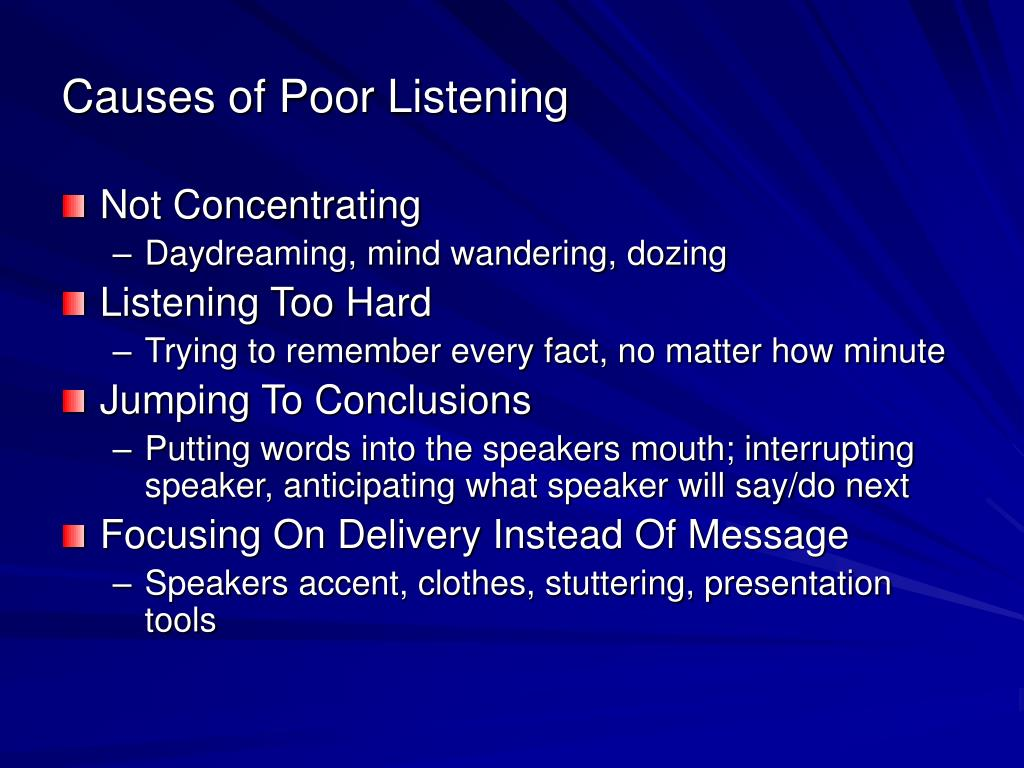 Causes of Poor Listening