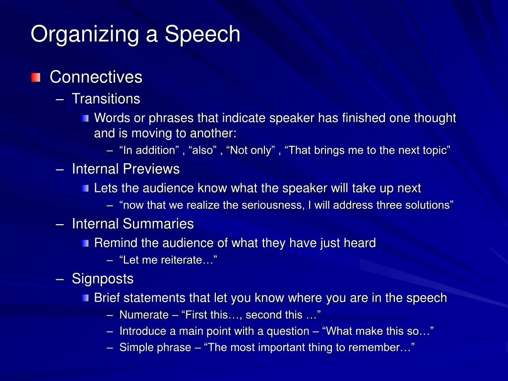 Organizing a Speech