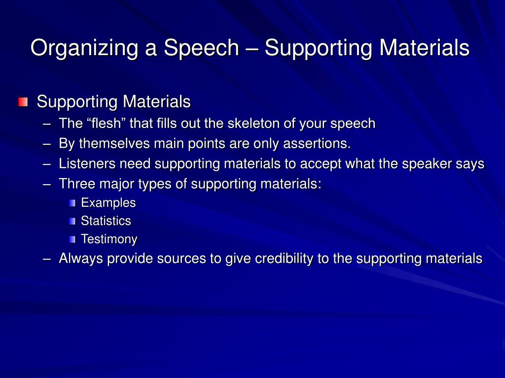 Organizing a Speech – Supporting Materials