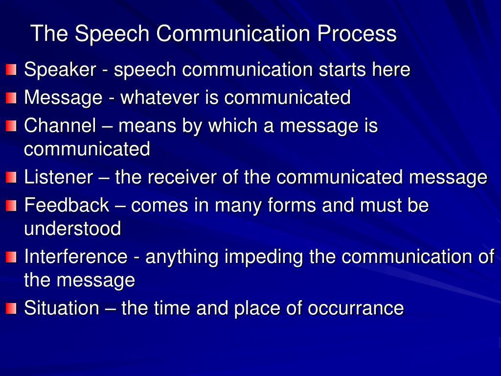 The Speech Communication Process