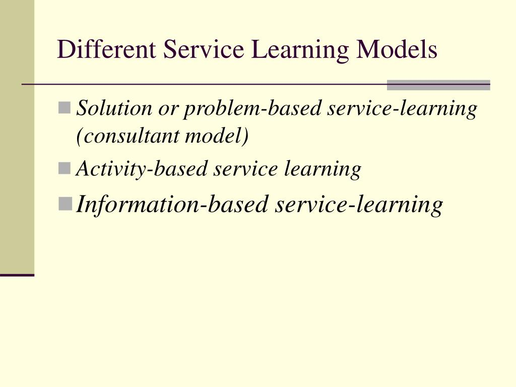 Different Service Learning Models