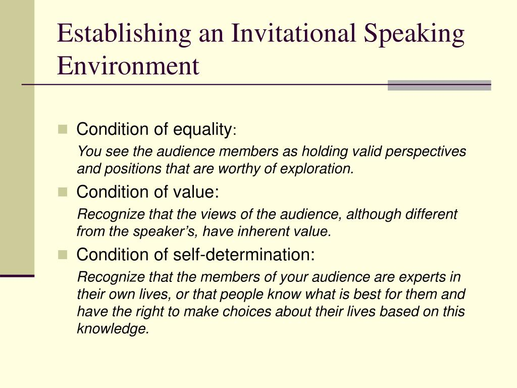 Establishing an Invitational Speaking Environment