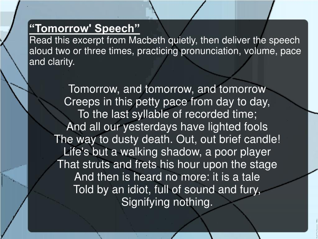 """Tomorrow' Speech"""