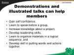 demonstrations and illustrated talks can help members
