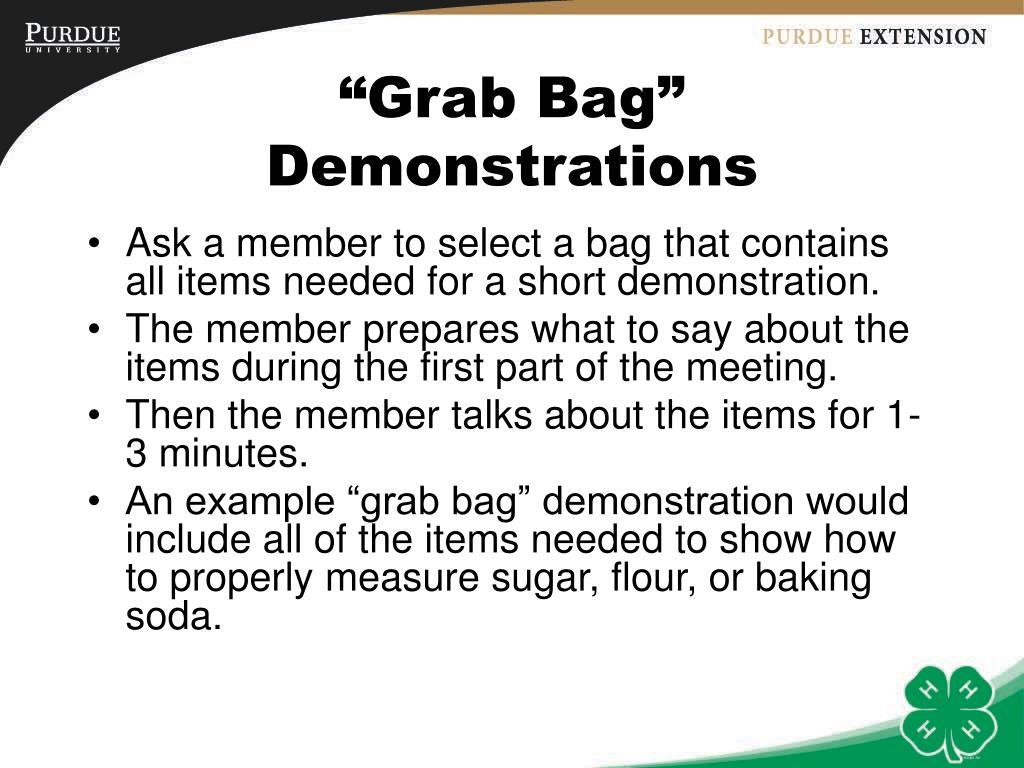 """Grab Bag"" Demonstrations"