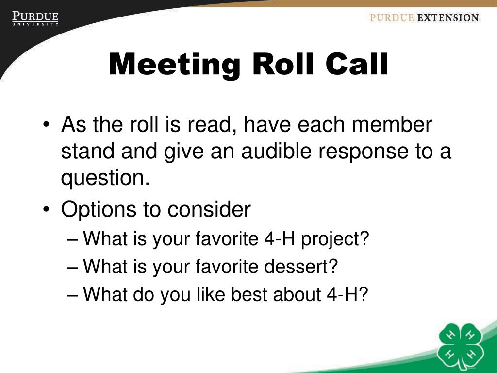 Meeting Roll Call