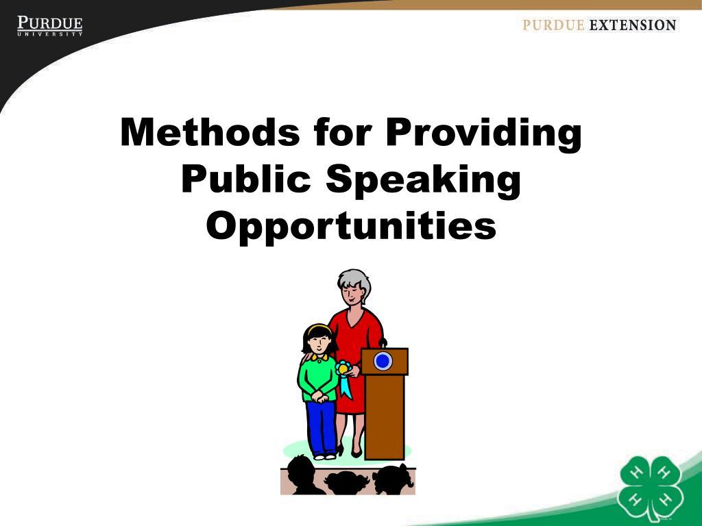 Methods for Providing Public Speaking Opportunities