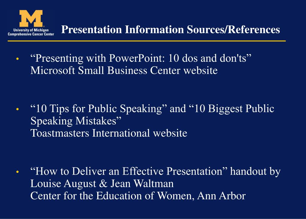 Presentation Information Sources/References