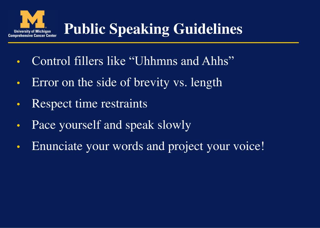 Public Speaking Guidelines