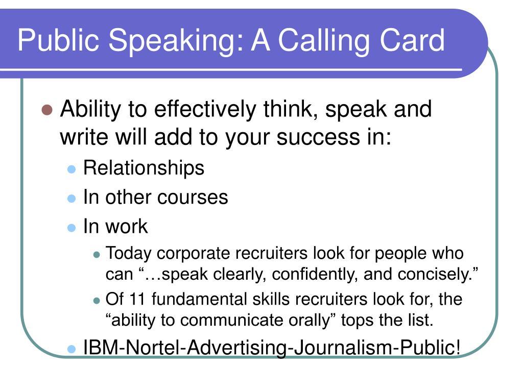 Public Speaking: A Calling Card