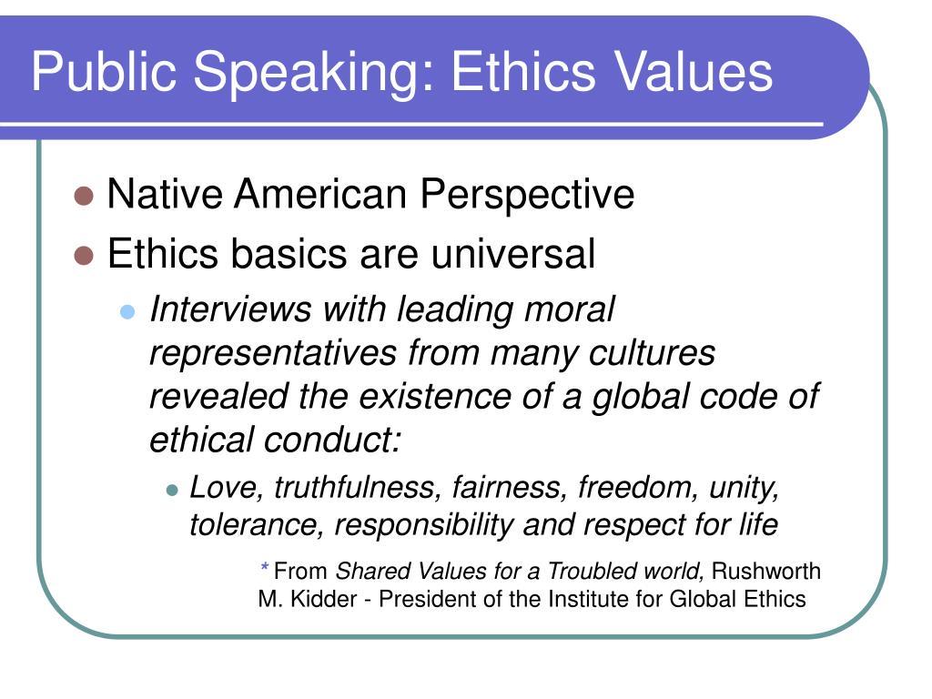 Public Speaking: Ethics Values