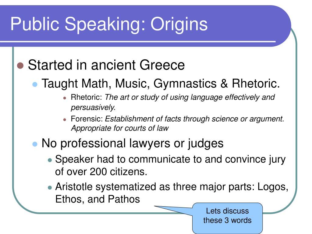 Public Speaking: Origins