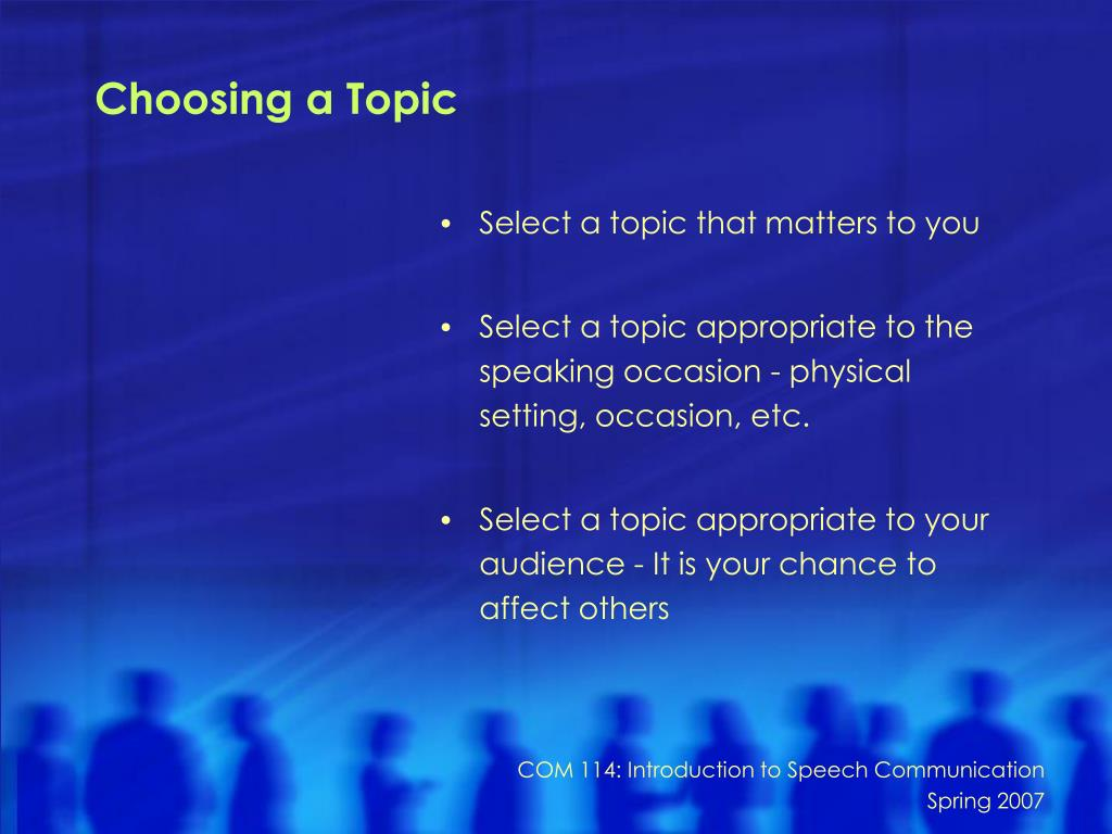 Choosing a Topic