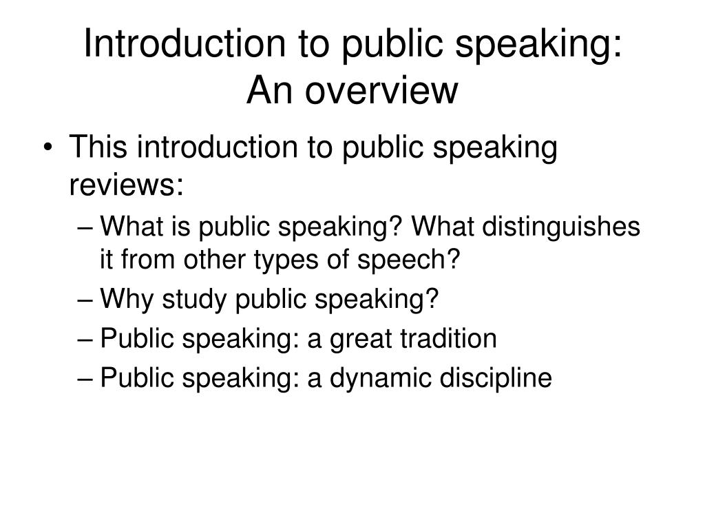 Introduction to public speaking: