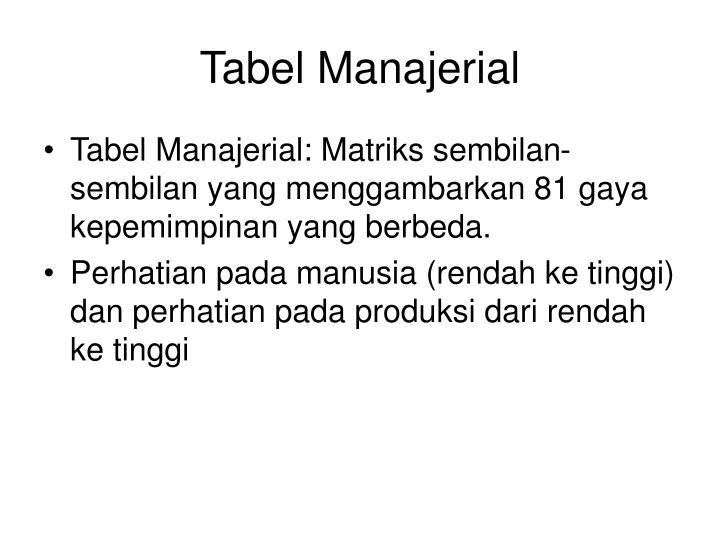 Tabel Manajerial