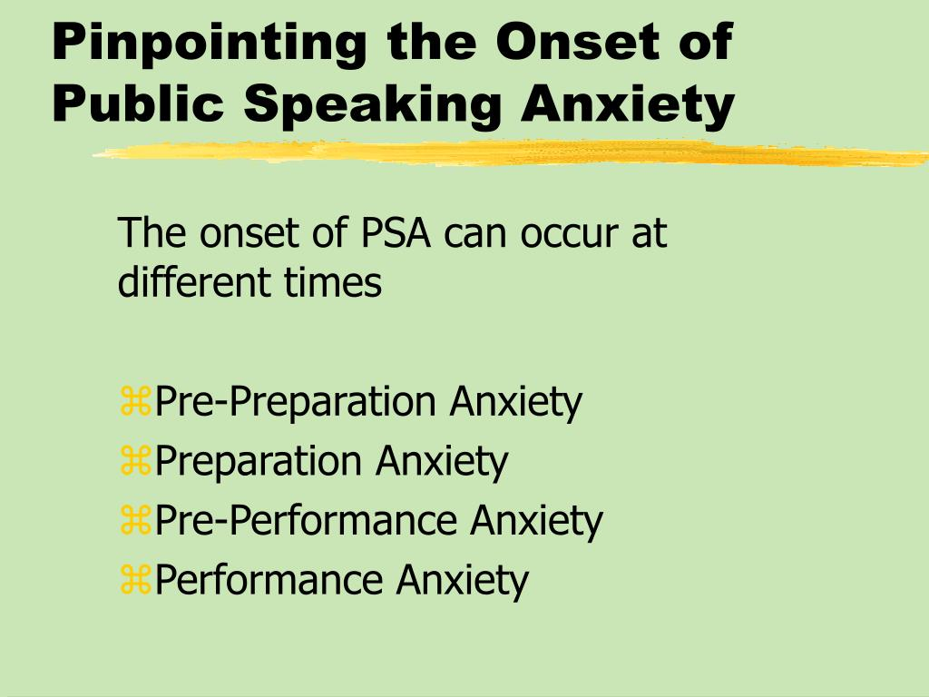 Pinpointing the Onset of Public Speaking Anxiety