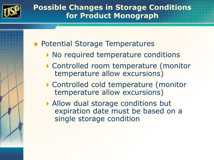 Possible Changes in Storage Conditions for Product Monograph
