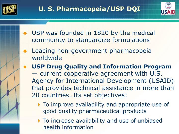 U. S. Pharmacopeia/USP DQI