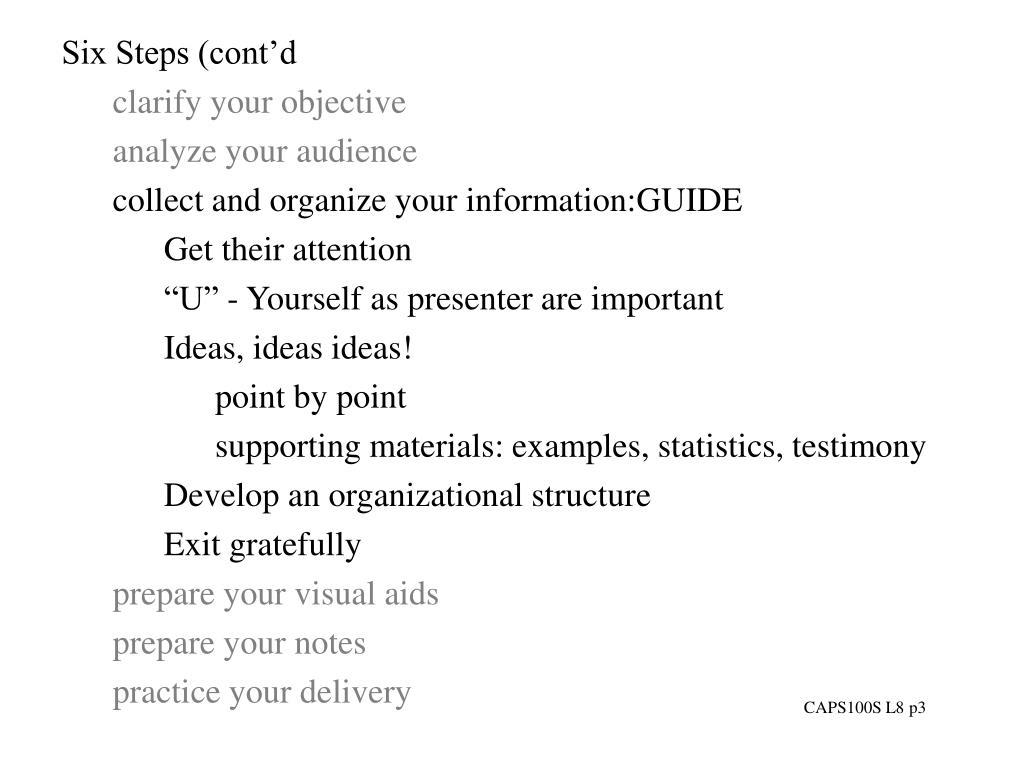 Six Steps (cont'd
