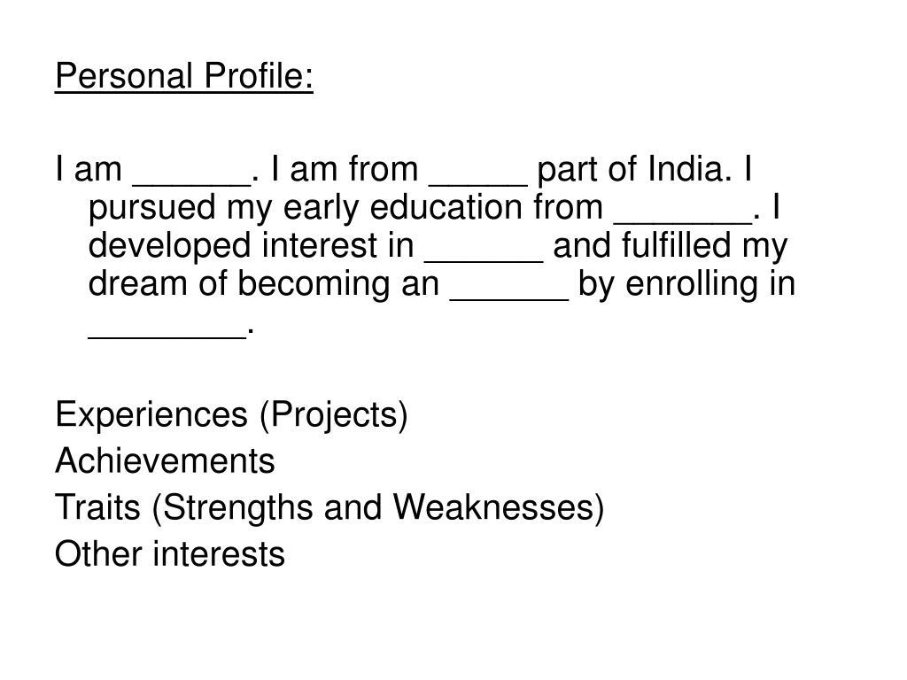 Personal Profile: