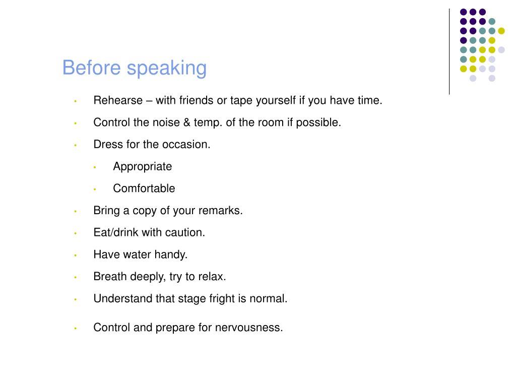 Before speaking