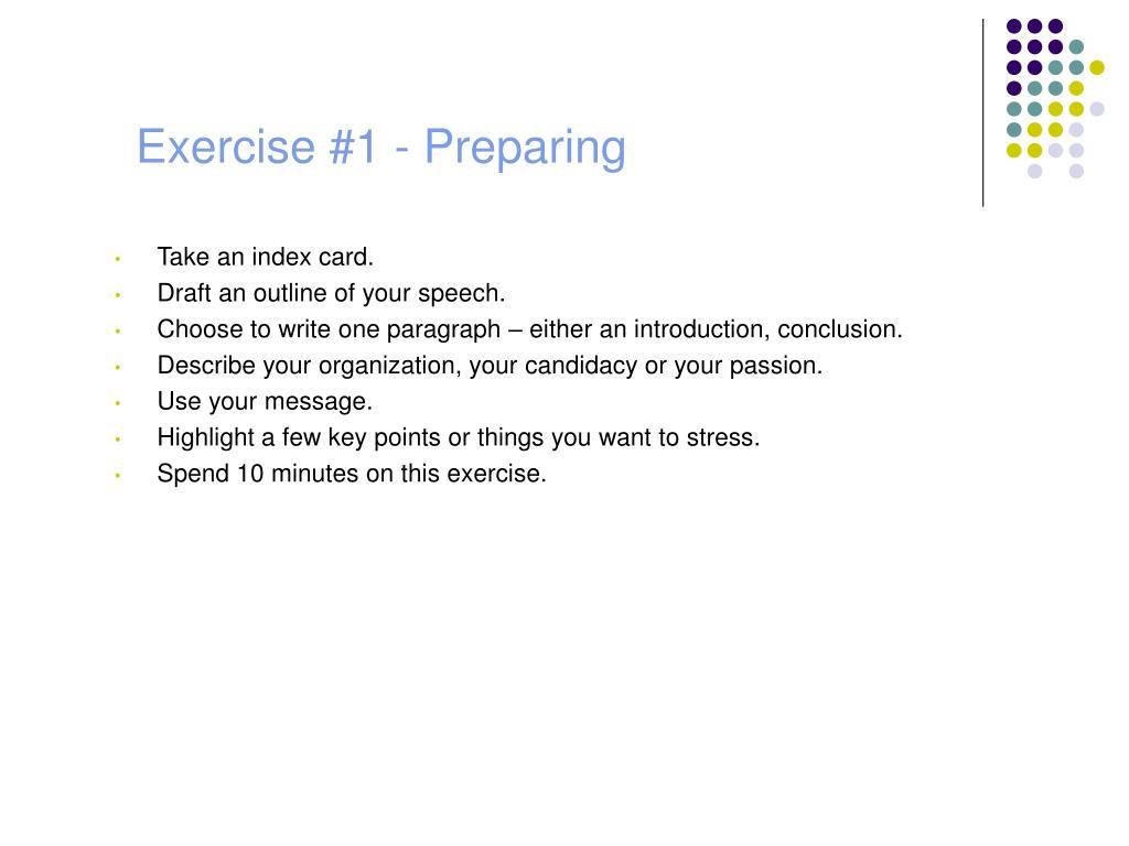 Exercise #1 - Preparing