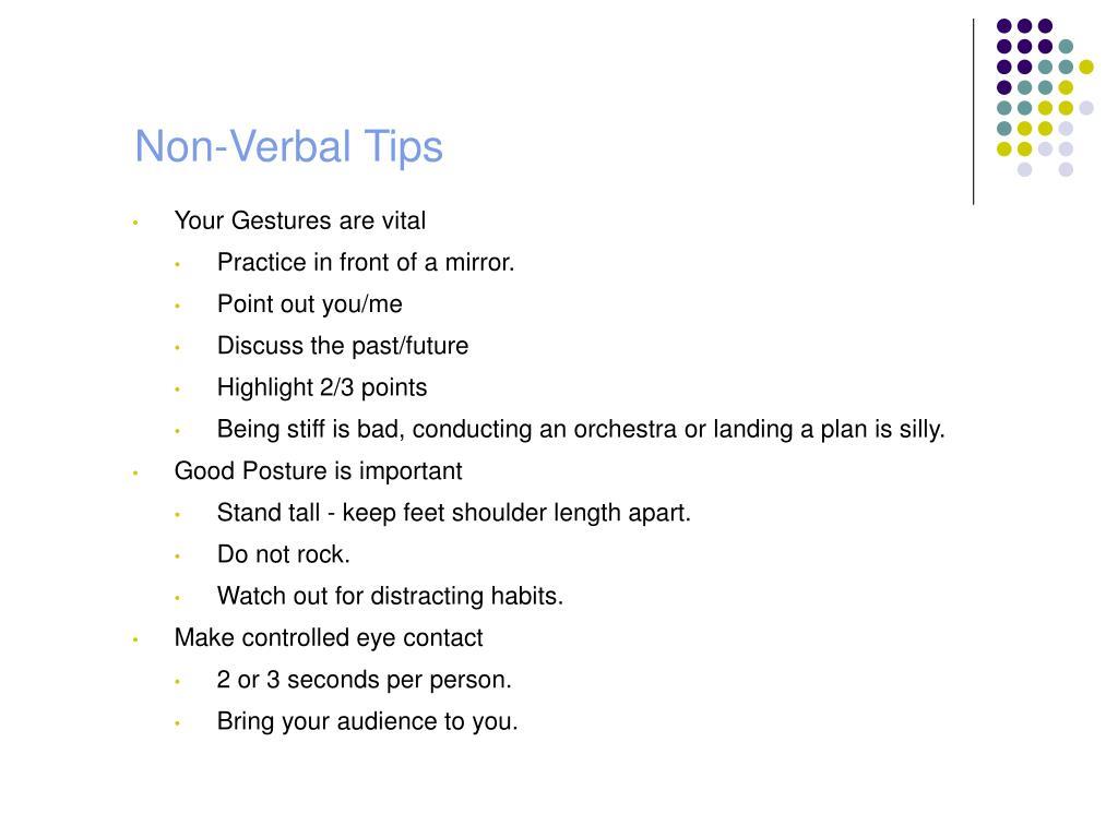 Non-Verbal Tips