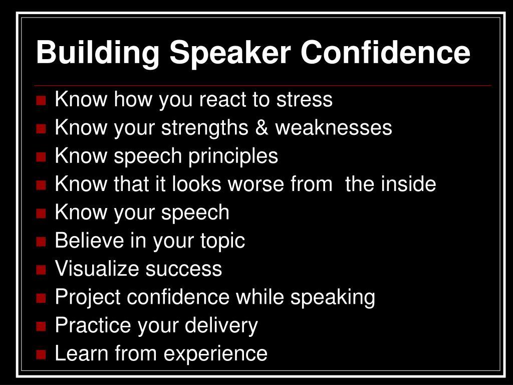 Building Speaker Confidence