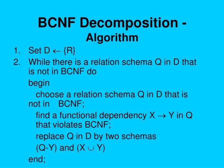 BCNF Decomposition -