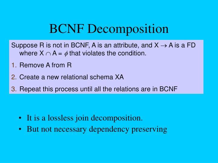 BCNF Decomposition