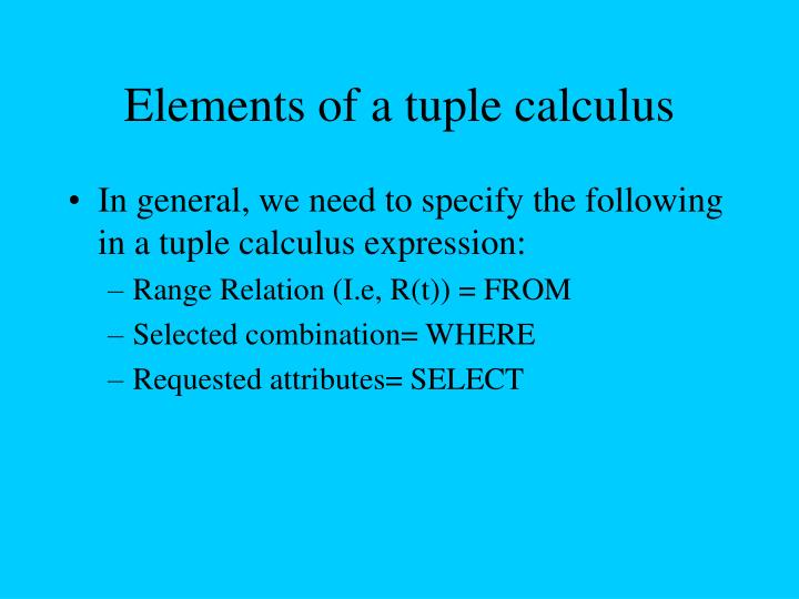 Elements of a tuple calculus