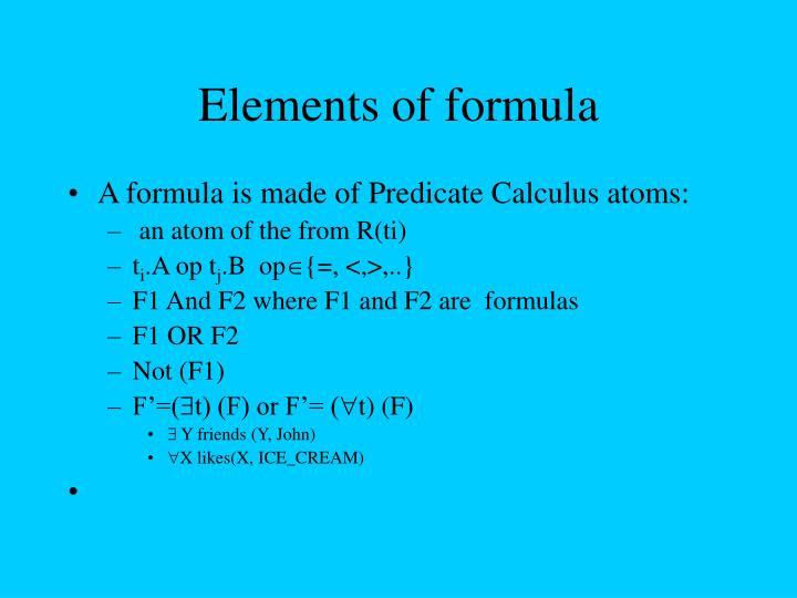 Elements of formula