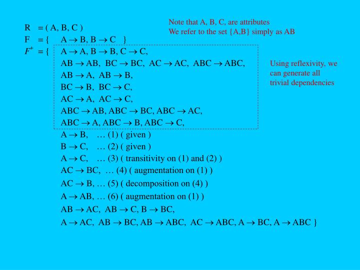 Note that A, B, C, are attributes