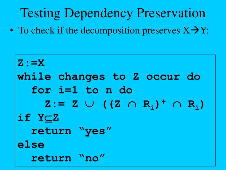 Testing Dependency Preservation